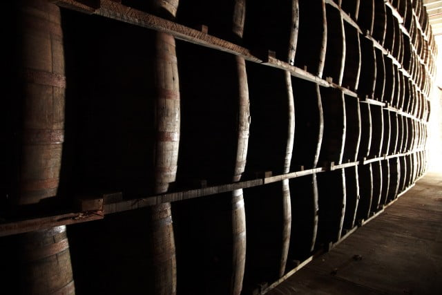 Barrels at the aging facility