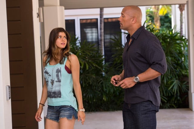 Alexandra Daddario and Dwayne Johnson