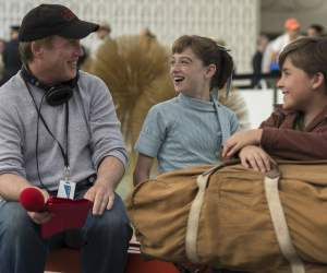 Brad Bird, Raffey Cassidy, and Thomas Robinson on the set of Tomorrowland