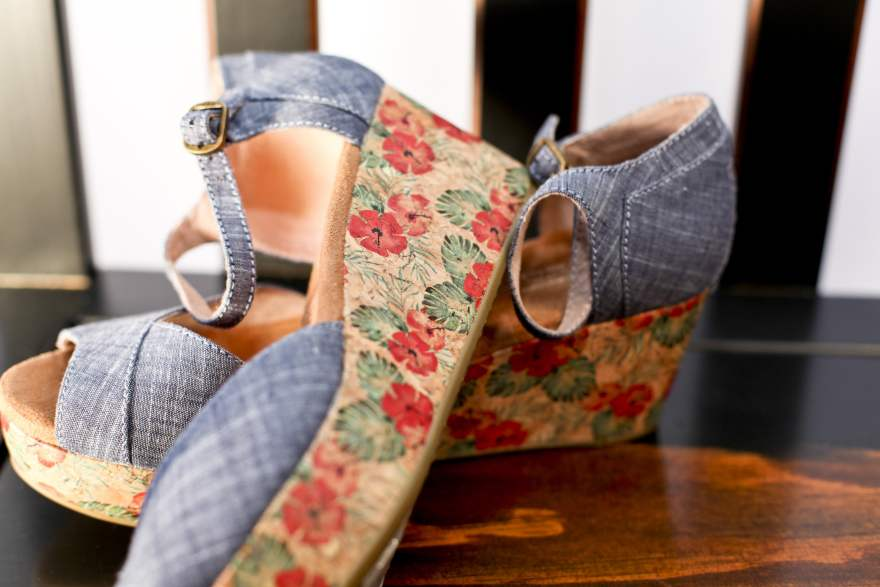 Chambray Women's Floral Cork Platform Wedges