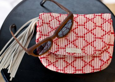 Florentine Matte Grey Traveler sunglasses and Scarlet Multi Cross Stitch Mix Tassel Venice Crossbody bag
