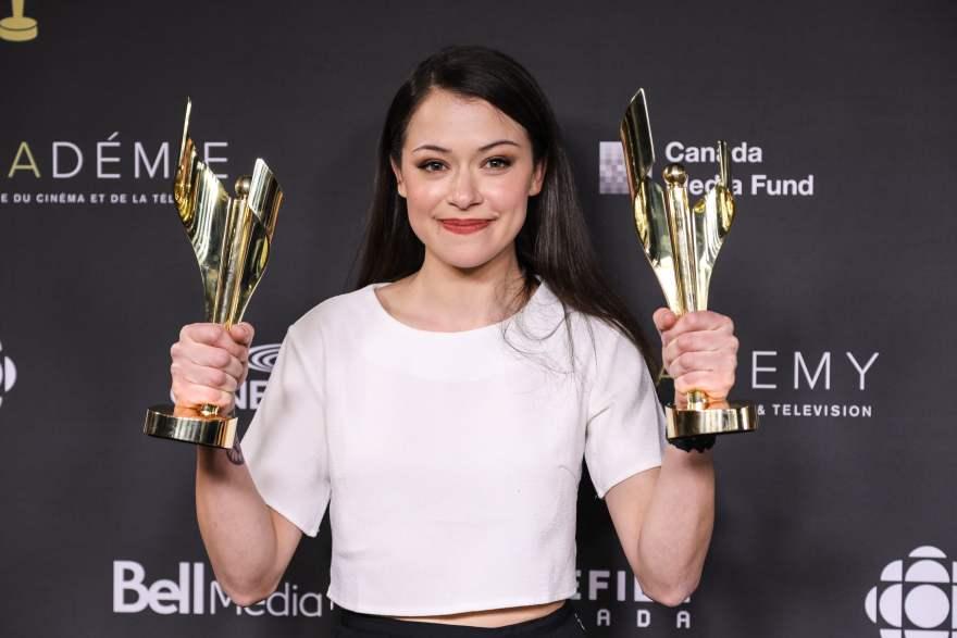 Tatiana Maslany and her two Canadian Screen Awards