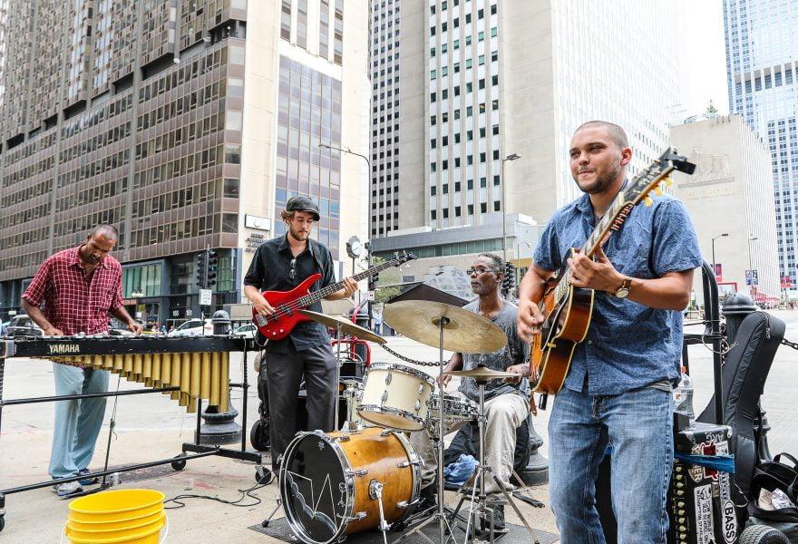 Band playing a streetcorner