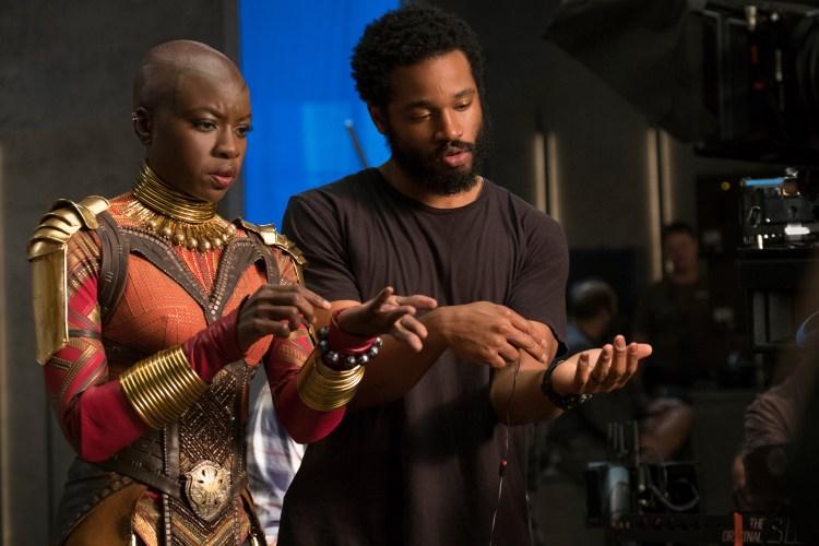 Danai Gurira (Okoye) on set with Director Ryan Coogler in Black Panther