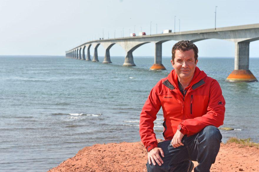 Rick Mercer at Confederation Bridge in PEI