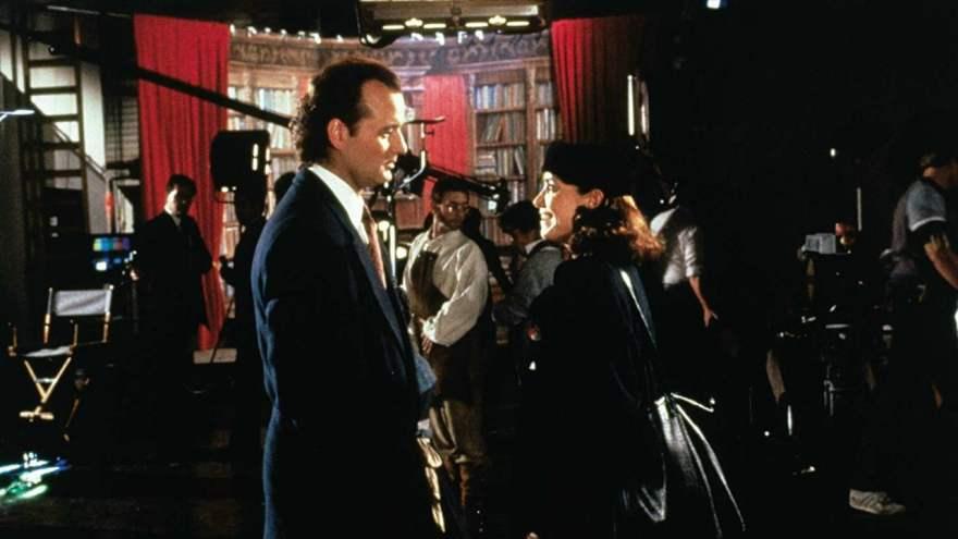 Bill Murray and Karen Allen in Scrooged