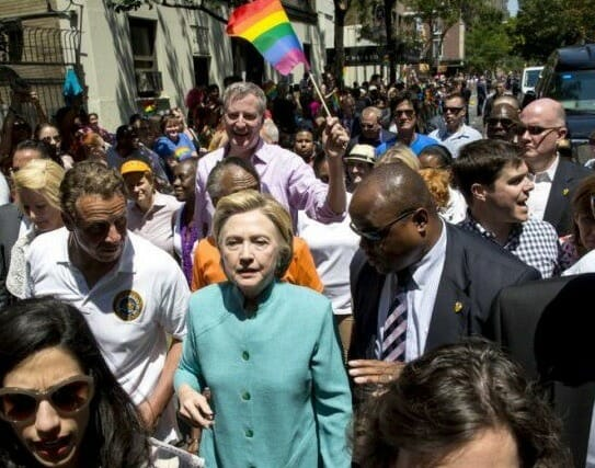 hillary gay pride parade with huma and doctor