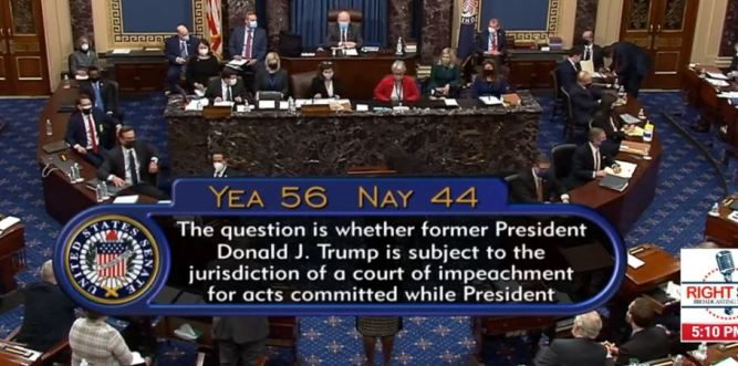 Image result for Senate votes 56-44 to continue Impeachment