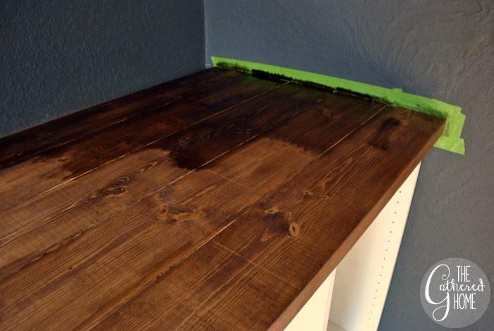 diy plank top ikea cabinet desk