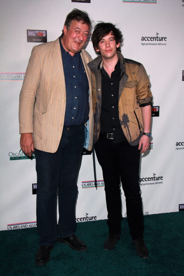 Stephen Fry and Elliot Spencer at the Oscar Wilde US-Ireland Pre-Academy Awards Event, Bad Robot, Santa Monica, CA 02-19-15