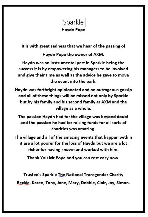 Sparkle Tribute to Haydn Pope