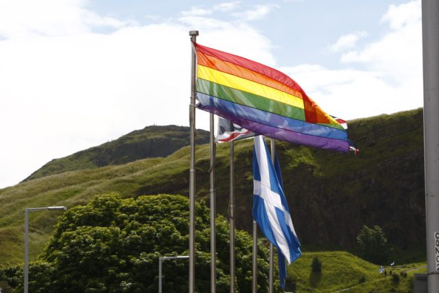 The Pride Flag flies outside the Scottish Parliament during the Opening of the fifth session of the Scottish Parliament. 02 July 2016. Pic - Andrew Cowan/Scottish Parliament