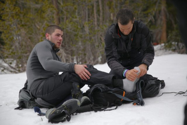 "RUNNING WILD WITH BEAR GRYLLS -- ""Nick Jonas"" Episode 303 -- Pictured: (l-r) Nick Jonas, Bear Grylls -- (Photo by: Ben Simms/NBC)"