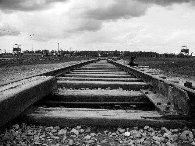 selective focus photography of train rail