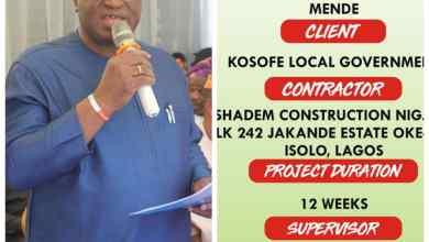 Photo of Kosofe LG Boss, Afolabi Sofola Commissions Three Roads At Ojota, Mende