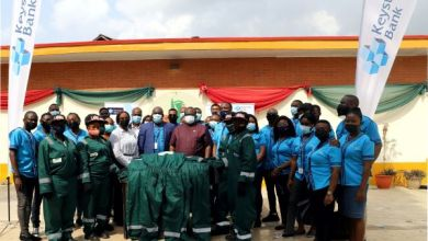 Photo of KeystoneBank Trainees Donate Street Sweepers' Uniforms ToLAWMA