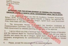 Photo of Buhari Approves Establishment  Of Federal Polytechnic, Orogun + Letter Of Approval