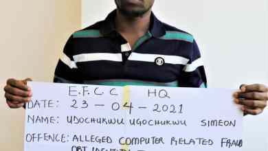 Photo of Man Arrested For Cloning EFCC's e-Mail