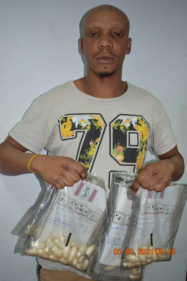 Watch As NDLEA Nabs Italy-bound Drug Trafficker With 781.2-gramme Heroin At Abuja Airport