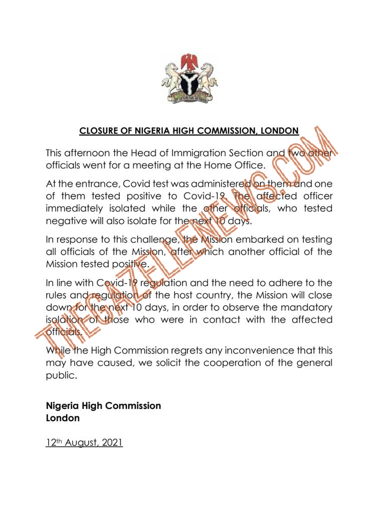 Breaking: Nigeria High Commission In London Shut As Officials Test Positive For Covid-19