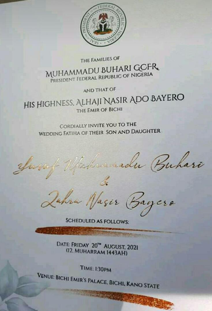 Behold! Buhari's Son's Wedding Notification, Invitation