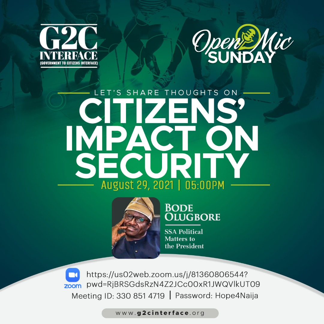 Bode Olugbore's G2C Interface Presents 'Citizens' Impact On Security' Sunday