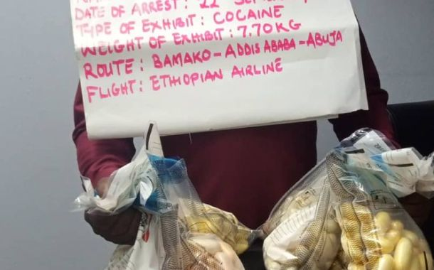 Watch As NDLEA Arrests Trafficker With 350 Wraps Of Cocaine Worth  2.3bn At Abuja Airport