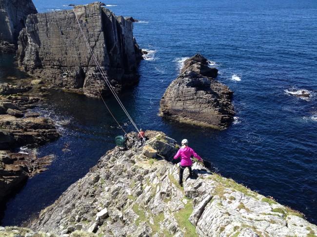 Climbing sea stacks Ireland