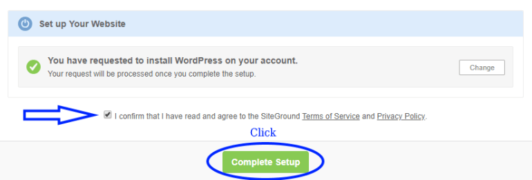 complete wordpress initial set up screenshot