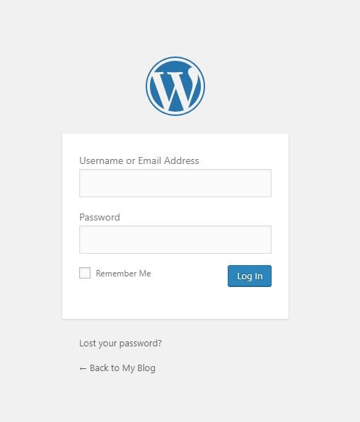 wordpress login page wp-admin