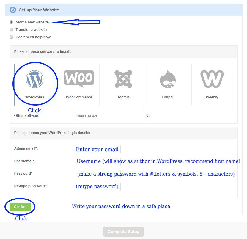 wordpress one click installer
