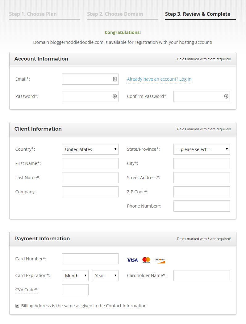 enter account information for wordpress web hosting