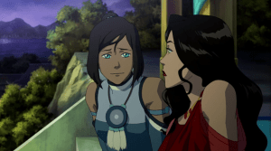 Korra and Asami talking during the series finale