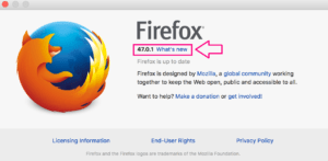 The About Firefox pop-up window
