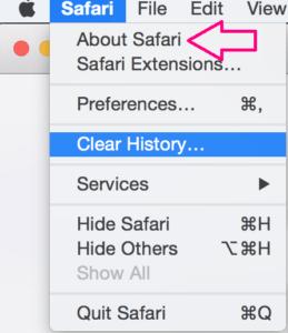 Click the Safari Menu to expand