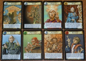 The 8 base roles in the 2010 version of Citadels.