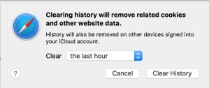 Safari clearing history popup