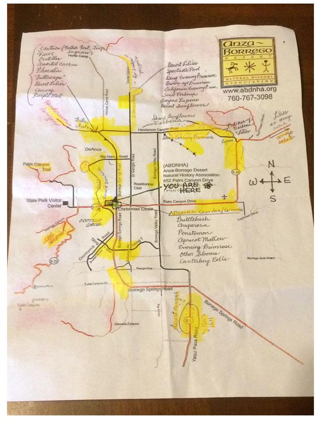 Anza Borrego 2017 Wildflower map