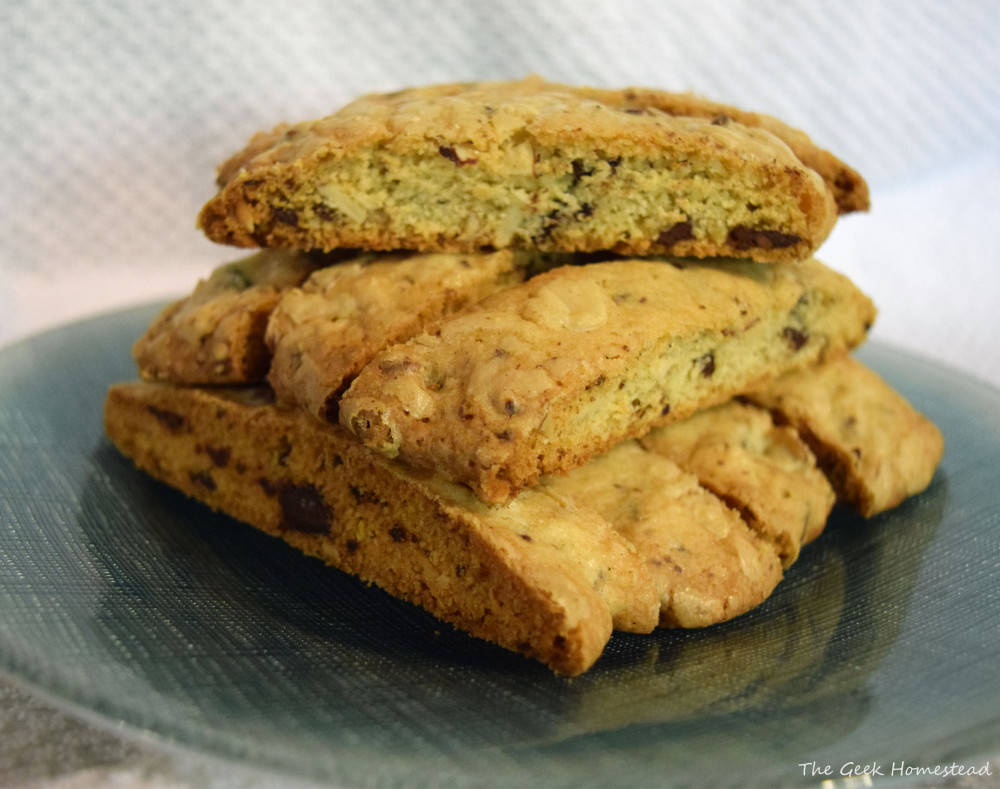 Almond Biscotti with Ghirardelli Cocoa Nib Chocolate