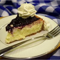 Creamy Cheesecake with Blueberry Jam Topping
