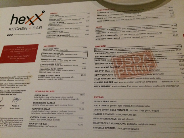 the menu at hexx in Las Vegas