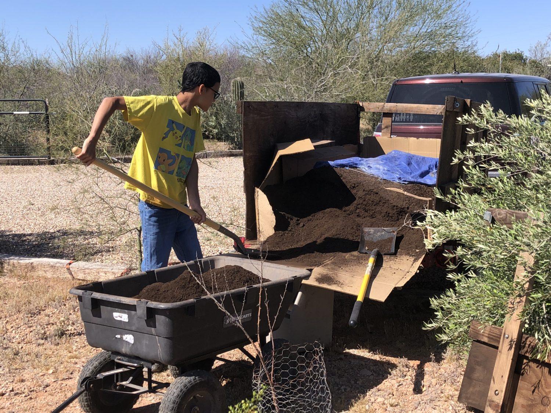 unloading compost