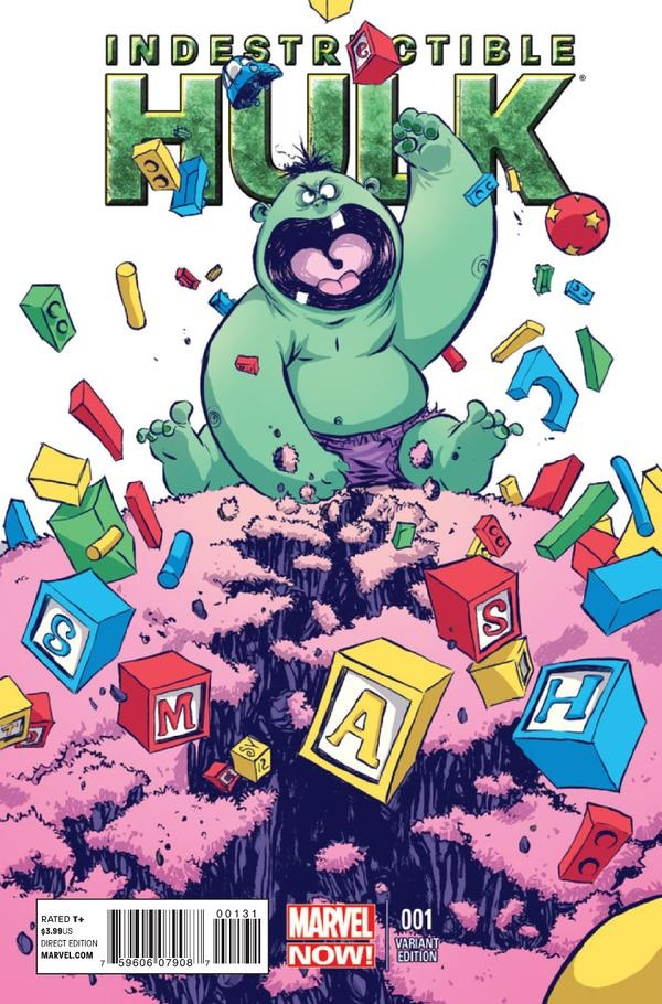 Indestructable Hulk #1 variant cover by Skottie Young