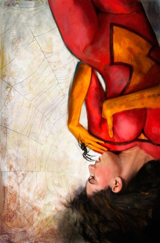 Spiderwoman in her web by Alex Maleev