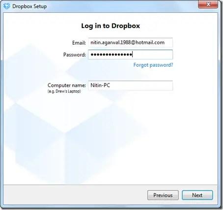 Login to Dropbox