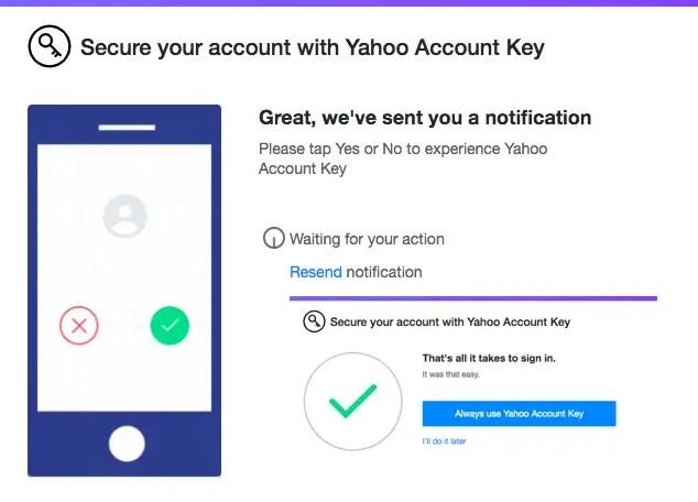 Yahoo Account Key Setup from Mobile