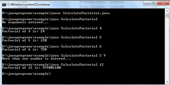 Calculate Factorial of an Integer with Command Line Argument in Java