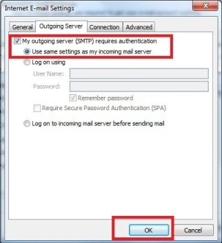 Outgoing server needs authentication in Outlook
