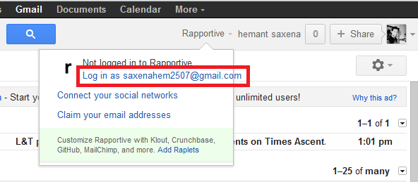 rapportive gmail plug in that gets all your contact details in your inbox