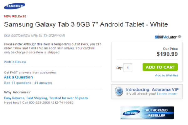 Adorama Galaxy Tab 3 Price leak